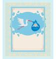 Baby Boy Card - A stork delivering a cute baby boy vector image vector image