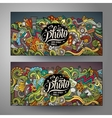 Banners templates set with doodles photo theme vector image vector image