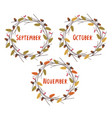 basic rgbset isolated frames with autumn months vector image