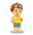 boy ready to swim with duck float vector image vector image
