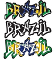 Brazil word graffiti different style vector image vector image