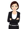 business woman cartoon character cheerfull vector image