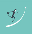 businessman running up on raised arrow vector image vector image
