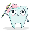 Cartoon tooth brushing itself isolated on white vector image