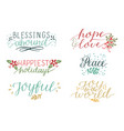 collection with 6 colorful holiday cards made hand vector image vector image