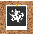 cork board with instant photo card and vector image vector image