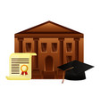 diploma graduation with hat and school building vector image vector image