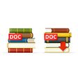 DOC format books stacks icons vector image