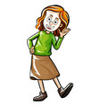 doodle human character for happy girl vector image