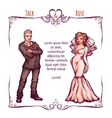 elegant wedding invintantion with bride and groom vector image