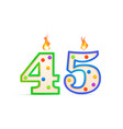 forty five years anniversary 45 number shaped vector image vector image