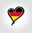 german flag heart-shaped hand drawn logo vector image vector image