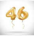 golden number 46 forty six metallic balloon party vector image vector image