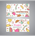 good morning text breakfast slogan cafe bakery vector image vector image