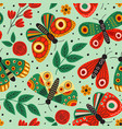 green seamless pattern with butterflies and flower vector image vector image