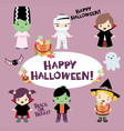 halloween costumed children design set vector image vector image