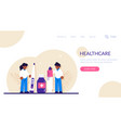healthcare concept doctor with syringe hold in vector image vector image