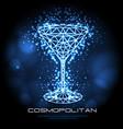 hipster polygonal cocktail cosmopolitan neon sign vector image vector image