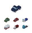 isometric car set of truck first-aid suv and vector image vector image