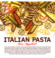 italian pasta card with traditional food of italy vector image vector image