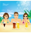 man and two woman enjoying beach holiday vector image vector image