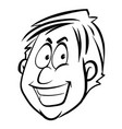 man with happy face on white vector image vector image