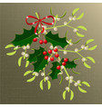 mistletoe and holly branches with berries red vector image