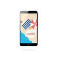 mobile phone with summer holiday on it vector image vector image