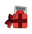 open gift box with love letter valentines day vector image