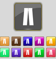 Pants icon sign Set with eleven colored buttons vector image vector image