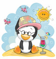 penguin on the beach vector image vector image