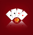 playing cards and casino chips on a red vector image vector image