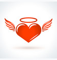 red heart with wings st valentines day design vector image