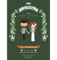 Rustic hipster cartoon couple wedding card vector image vector image