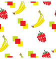 seamless pattern with bananas and strawberries vector image vector image