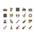 set musical instruments color line icons piano vector image