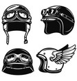 set of racer helmets on white background design vector image