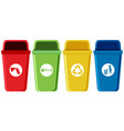 set of recycling bins vector image vector image