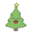 sexy red lips christmas tree cartoon character vector image vector image