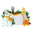 snowman with yellow scarf vector image vector image