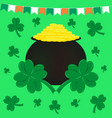 st patricks day flags pot of gold and clover vector image