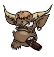 sullen bull with a cigar vector image vector image