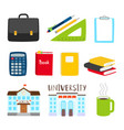 teachers and students tools icons subjects vector image