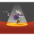 Valentines Day Card Rabbit Running Away with Bag F vector image