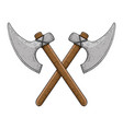 viking axes colored hand drawn sketch vector image