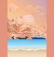whale watching boat at dawn vector image vector image