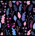 wild forest leaves seamless pattern blue branch vector image vector image