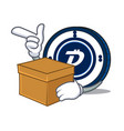 with box digibyte coin character cartoon vector image vector image