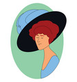 woman with big hat on white background vector image vector image
