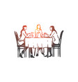 women restaurant table dishes vector image vector image